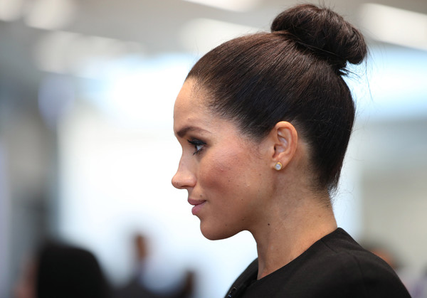 More Pics of Meghan Markle Little Black Dress (1 of 65) - Dresses & Skirts Lookbook - StyleBistro [hair,hairstyle,beauty,bun,chin,chignon,fashion,forehead,black hair,long hair,duchess,meghan,students,patron,role,sussex,duchess of sussex visits association of commonwealth universities,organisation,association of commonwealth universities,visit]