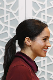 Meghan Markle visited the Hubb Community Kitchen wearing her hair in a casual ponytail.