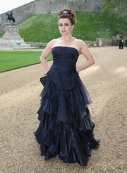 Helena Bonham Carter went for a goth feel with this dark purple Ralph Lauren strapless gown at the Royal Marsden celebration.