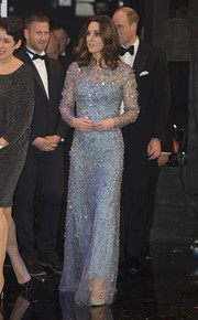 Kate Middleton looked stunning in an intricately beaded pastel-blue gown by Jenny Packham while attending the Royal Variety Performance.