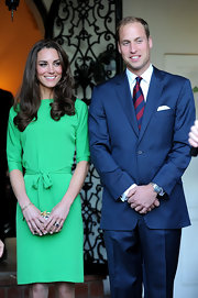 Kate Middleton punctuated her emerald sheath with an exotic lytton animal print clutch made of snake skin at the Cambridge Consul reception.
