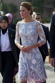 For her fourth day of the Diamond Jubilee, Kate Middleton looked lovely in this Swiss dot floral dress.