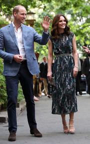 Kate Middleton kept it ladylike in a printed midi dress by Markus Lupfer while attending a reception during her official visit to Germany.