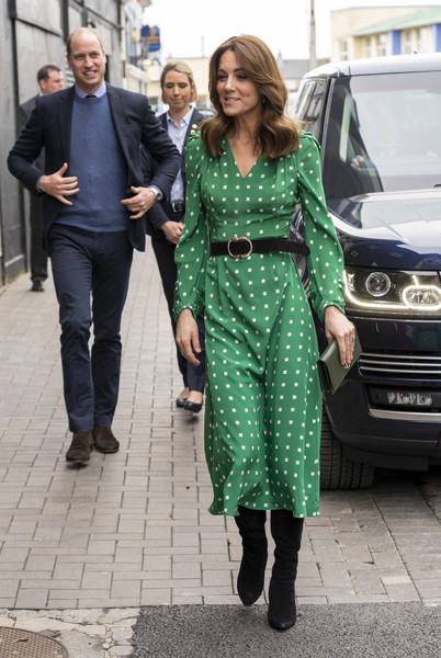 Kate Middleton visited a traditional Irish pub in Galway wearing a green square-print midi dress by Suzannah.