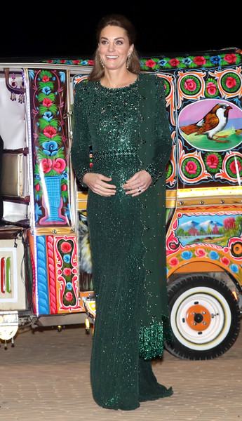 Kate Middleton glittered in an emerald-green sequined gown by Jenny Packham while attending a special reception during the royal tour of Pakistan.