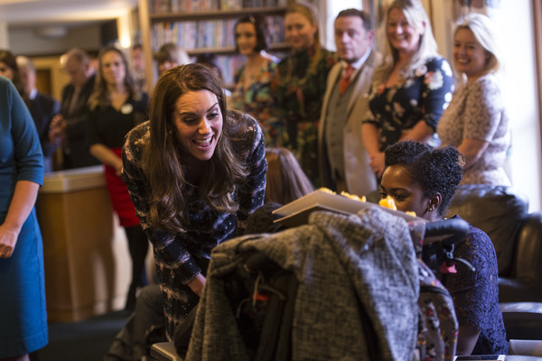 More Pics of Kate Middleton Printed Coat (1 of 89) - Outerwear Lookbook - StyleBistro [people,blue,yellow,fashion,youth,event,fun,human,room,fashion design,familes,catherine,duchess,support,life care,end,manchester,the duke duchess of cambridge,cambridge,visit]