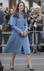 Kate Middleton donned a periwinkle coat by Mulberry for her walkabout in Ballymena town.