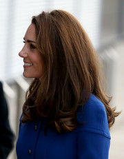 Kate Middleton wore her hair in a high-volume style with wavy ends while visiting the McLaren Automotive Composites Technology Centre.