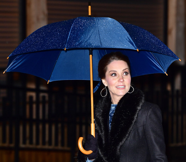 Kate Middleton kept the rain out with a blue umbrella while headed to a reception celebrating Swedish culture.