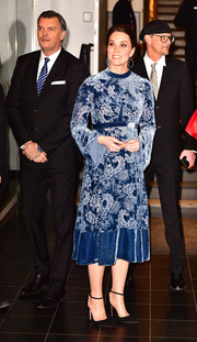 Kate Middleton attended a reception to celebration Swedish culture wearing a blue floral velvet-devoré dress by Erdem.
