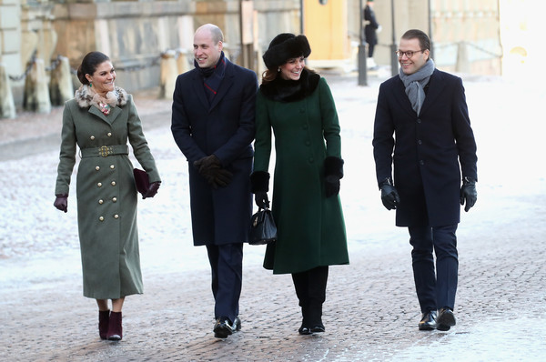 More Pics of Kate Middleton Leather Purse (1 of 262) - Evening Bags Lookbook - StyleBistro [people,overcoat,fashion,standing,coat,street fashion,outerwear,trench coat,white-collar worker,uniform,victoria,daniel,duchess,l-r,sweden,cambridge,norway,stockholm,streets,duke]