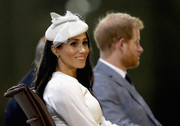 Meghan Markle attended a welcome ceremony in Fiji wearing a decorative white hat by Stephen Jones.