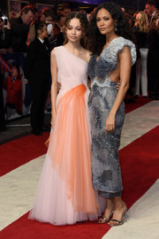 Thandie Newton donned a Mary Katrantzou ruffle top in two shades of gray for the European premiere of 'Dumbo.'