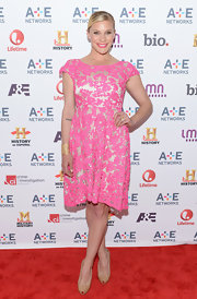Katee Sackhoff rocked a pink lace frock for a super girly look on the red carpet of the A&E Upfront event in NYC.