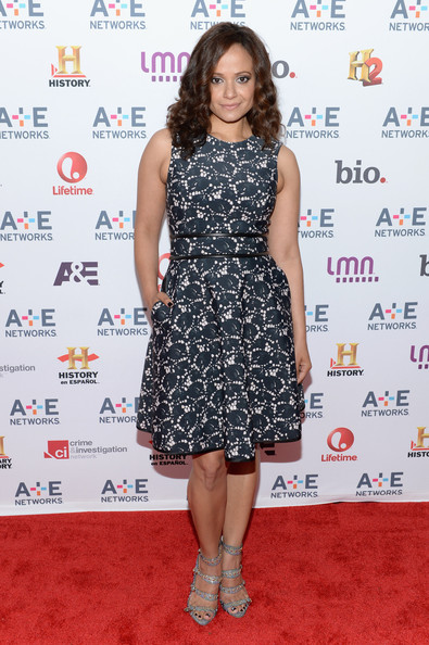 Judy Reyes chose a black and white printed frock for her look at the A&E Upfront event in NYC.