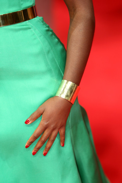 More Pics of Lupita Nyong'o Fauxhawk (1 of 12) - Short Hairstyles Lookbook - StyleBistro [green,red,yellow,hand,teal,turquoise,nail,fashion,dress,red carpet,lupita nyongo,british academy film awards,detail,ee,england,london,the royal opera house,red carpet arrivals]
