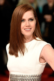 Amy Adams kept her hairstyle sleek and simple when she attended the EE British Academy Film Awards.