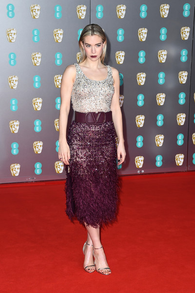 Vanessa Kirby sparkled in a silver sequined bodysuit by Valentino at the 2020 EE British Academy Film Awards.