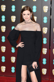 Karen Gillan carried a sparkly black box clutch by Edie Parker when she attended the EE British Academy Film Awards.