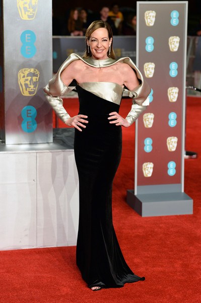 Allison Janney went for a futuristic vibe in a black and gold cutout gown by Bibhu Mohapatra at the EE British Academy Film Awards.