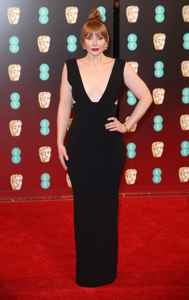 Bryce Dallas Howard ravished in a plunging, figure-hugging cutout gown by Solace London at the 2017 BAFTAs.