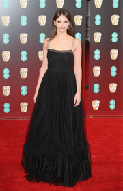 Felicity Jones was feminine and chic in a black ruffle-hem gown by Christian Dior at the 2017 BAFTAs.