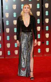 Sophie Turner was all aglitter at the 2017 BAFTAs in a plunging black and silver sequin gown by Louis Vuitton.