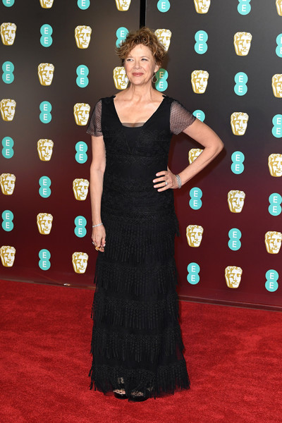 Annette Bening kept it demure in this fringed black gown at the EE British Academy Film Awards.