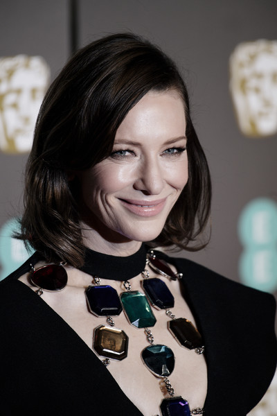 More Pics of Cate Blanchett Mid-Length Bob (1 of 18) - Shoulder Length Hairstyles Lookbook - StyleBistro [hair,hairstyle,black hair,fashion accessory,jewellery,long hair,necklace,brown hair,fashion design,layered hair,red carpet arrivals,cate blanchett,ee,london,england,royal albert hall,british academy film awards]