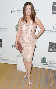 Rita Wilson chose this soft blush dress dress for a pretty in pink look while at 'An Unforgettable Evening' in Beverly Hills.