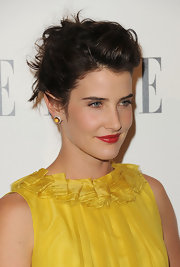 Cobie Smulders made her yellow dress just pop with a deep crimson lip color.
