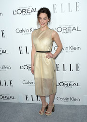 Emilia Clarke was minimalist-chic in a nude sheer-overlay dress by Calvin Klein at the Elle Women in Hollywood celebration.