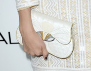 Caitlin Fitzgerald completed her vintage-chic ensemble with an embellished white Daniel Swarovski clutch when she attended the Elle Women in Hollywood celebration.