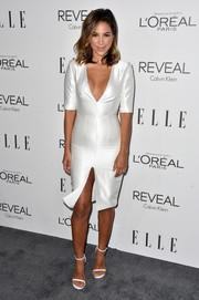 Liz Hernandez was all cleavage and legs in this deep-V, high-slit LWD at the Elle Women in Hollywood event.