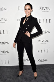 Emmy Rossum made menswear look so sexy when she donned this black Versace pantsuit for the Elle Women in Hollywood event.