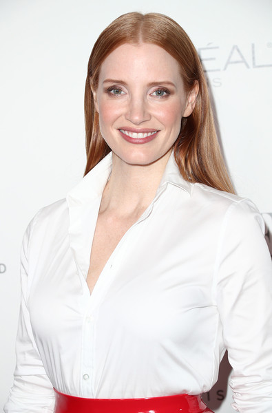 More Pics of Jessica Chastain Long Straight Cut (1 of 7) - Jessica Chastain Lookbook - StyleBistro [hair,white,face,hairstyle,beauty,lip,blond,skin,chin,brown hair,24th annual women in hollywood celebration - arrivals,jessica chastain,los angeles,four seasons hotel,california,beverly hills,elle,24th annual women in hollywood celebration]