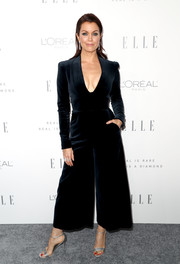 Bellamy Young looked perfectly polished in a plunging black velvet jumpsuit by Temperley London during Elle's Women in Hollywood celebration.