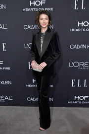 Mary Elizabeth Winstead suited up in this black velvet tuxedo by Bella Freud for the 2018 Elle Women in Hollywood celebration.