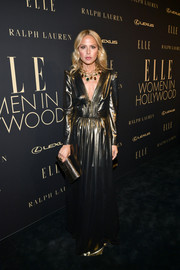 Rachel Zoe gleamed in a gold V-neck gown at the 2019 Elle Women in Hollywood celebration.