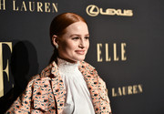 Madelaine Petsch kept it fuss-free with this low, center-parted ponytail at the 2019 Elle Women in Hollywood celebration.