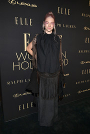 Hunter Shafer went boho in a fringed black top by Loewe at the 2019 Elle Women in Hollywood celebration.