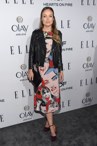 Olivia Wilde kept the colors coming with a pair of purple and red KG by Kurt Geiger platform pumps.