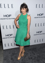 Constance Zimmer was bright and sophisticated in a green fit-and-flare suede dress by Manokhi at the Elle Women in Television dinner.