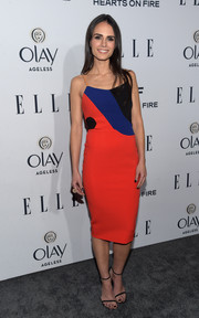 Jordana Brewster teamed her cute dress with black skinny-strap sandals.