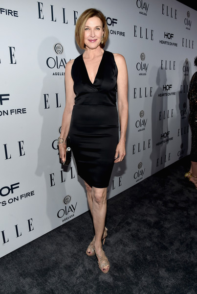 More Pics of Brenda Strong Bob (5 of 5) - Brenda Strong Lookbook - StyleBistro [elle,olay,red carpet,dress,clothing,little black dress,shoulder,cocktail dress,fashion,joint,premiere,carpet,event,sunset tower,west hollywood,california,6th annual women in television dinner,brenda strong,hearts on fire diamonds]