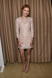 Bella Thorne looked adorable at ELLE's Annual Women in Television Celebration in a pastel pink beaded shift dress.