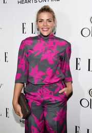Busy Philipps went for a bold fuchsia colored top with a floral print by Dries van Noten for ELLE's Annual Women in Television Celebration.