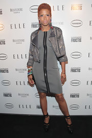 Kelis topped off her cocktail dress with a studded motorcycle jacket.