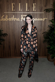 Lydia Hearst looked cool in a floral pantsuit at the Elle & Ferragamo Hollywood Rising celebration.