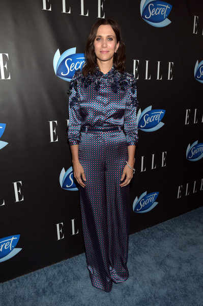Kristen Wiig donned a blue and pink print blouse by Monique Lhuillier for the Elle Women in Comedy event.